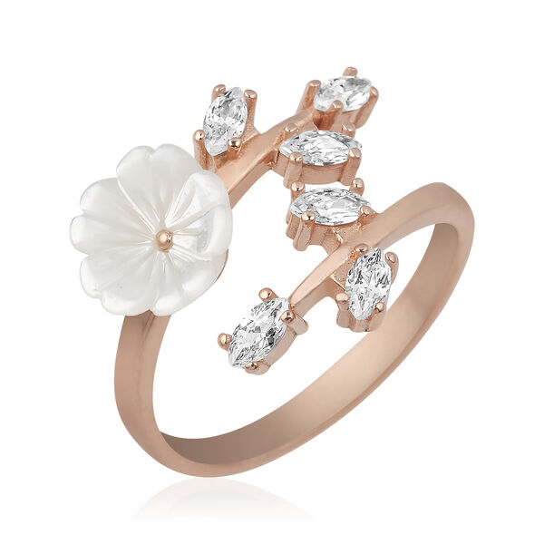 Gümüş Beyaz Bahar Çiçeği Yüzük