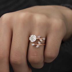 Gümüş Beyaz Bahar Çiçeği Yüzük - Thumbnail