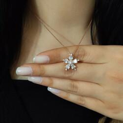 Gümüş Beyaz Kamelya Çiçeği Kolye - Thumbnail
