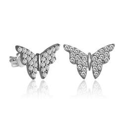 Gumush - Gümüş Beyaz Kelebek Küpe