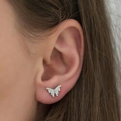 Gümüş Beyaz Kelebek Küpe - Thumbnail