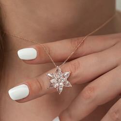 Gümüş Beyaz Lotus Çiçeği Kolye - Thumbnail