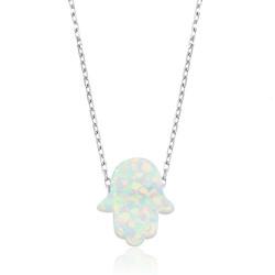 Gumush - Gümüş Beyaz Opal Fatma Ana Eli Bayan Kolye
