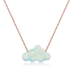 Gumush - Gümüş Beyaz Opal Taş Bulut Bayan Kolye