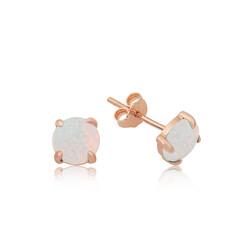Gumush - Gümüş Beyaz Opal Taş Küpe