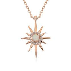 Gumush - Gümüş Beyaz Opal Taşlı Kutup Yıldızı Kolye