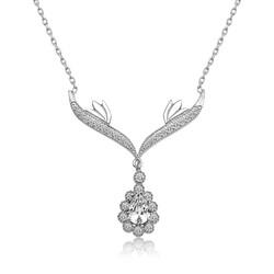 Gumush - Gümüş Beyaz Taşlı Madalyon Bayan Kolye
