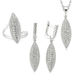 Gumush - Gümüş Beyaz Taşlı Bayan Set