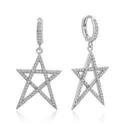 Gumush - Gümüş Beyaz Yıldız Bayan Küpe