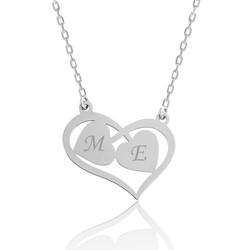 Gumush - Gümüş Harfli Birleşen Kalpler Kişiye Özel Kolye