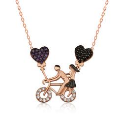 Gumush - Gümüş Bisikletli Aşıklar Bayan Kolye