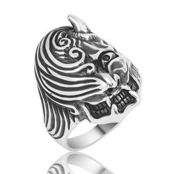 Gumush - Gümüş Boynuzlu Kafa Erkek Yüzük