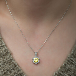 Gumush - Gümüş Buğday Sarısı Baget Taşlı Bayan Kolye (1)