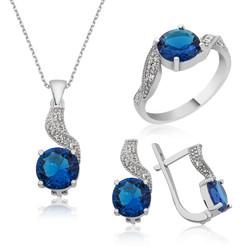 Gumush - Gümüş Mavi Tek Taş Bayan Set