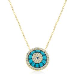 Gumush - Gümüş Gold Camgöz Nazar Bayan Kolye