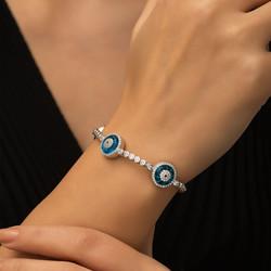 Gümüş Camgöz Üçlü Suyolu Nazar Bileklik - Thumbnail