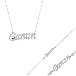 Gumush - Gümüş Canım Yazılı Kalp Bayan Set