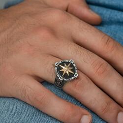 Gümüş Çapa Detaylı Pusula Erkek Yüzük - Thumbnail