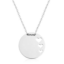 Gumush - Gümüş Çember Kalp Bayan Kolye