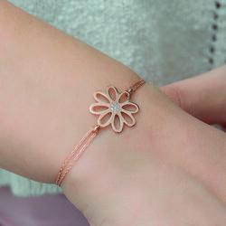 Gümüş Rose Çiçek Bayan Bileklik - Thumbnail