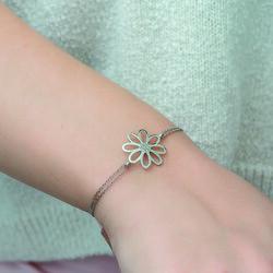 Gümüş Çiçek Bayan Bileklik - Thumbnail