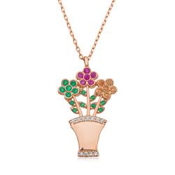 Gumush - Gümüş Çiçek Buketi Bayan Kolye