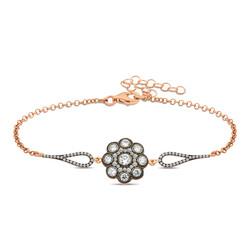 Gumush - Gümüş Çiçek Desenli Elmas Montür Bileklik