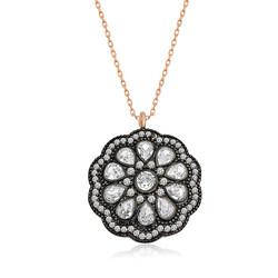 Gumush - Gümüş Çiçek Desenli Elmas Montür Kolye