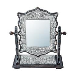 Gumush - Gümüş Çiçek Desenli Kare Çift Taraflı Ayna