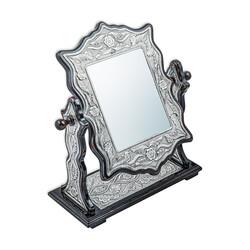 Gumush - Gümüş Çiçek Desenli Kare Çift Taraflı Ayna (1)