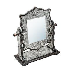 Gümüş Çiçek Desenli Kare Çift Taraflı Ayna - Thumbnail