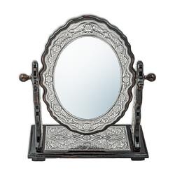 Gumush - Gümüş Çiçek Desenli Oval Çift Taraflı Ayna