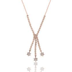 Gumush - Gümüş Taşlı Çiçek Bayan Kolye