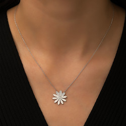 Gümüş Çiçek Bayan Kolye - Thumbnail