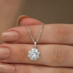 Gümüş Çiçek Kolye - Thumbnail