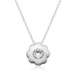 Gumush - Gümüş Tek Taş Çiçek Bayan Kolye