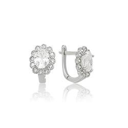 Gumush - Gümüş Oval Taşlı Çiçek Küpe