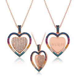 Gumush - Gümüş Çift Taraflı Kişiye Özel Kalp Kolye