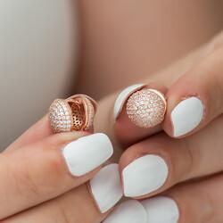 Gümüş Çift Taraflı Taşlı Bayan Küpe - Thumbnail