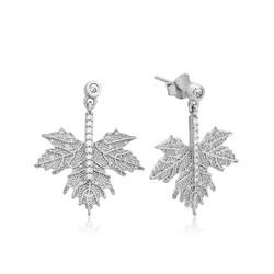 Gumush - Gümüş Çınar Yaprağı Küpe