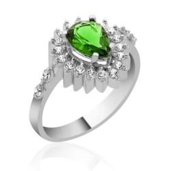 Gumush - Gümüş Yeşil Taşlı Damla Bayan Yüzük