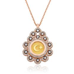 Gumush - Gümüş Damla Çerçeveli Ay Yıldız Bayan Kolye