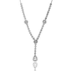 Gumush - Gümüş Beyaz Taşlı Damla Bayan Kolye