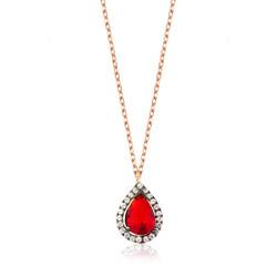 Gumush - Gümüş Kırmızı Taşlı Damla Bayan Kolye