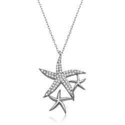 Gumush - Gümüş Beyaz Deniz Yıldızları Bayan Kolye