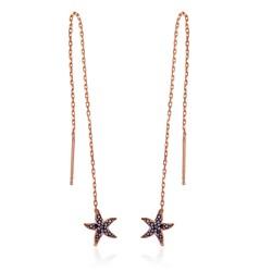 Gumush - Gümüş Siyah Taşlı Deniz Yıldızı Zincirli Küpe
