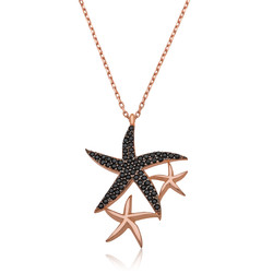Gumush - Gümüş Siyah Taşlı Deniz Yıldızları Bayan Kolye