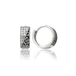 Gumush - Gümüş Taşlı Halka Küpe