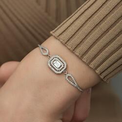 Gümüş Dikdörtgen Baget Bileklik - Thumbnail