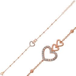 Gumush - Gümüş Dorissa Üç Kalp Bileklik